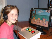 A child playing the hearing training game, Star
